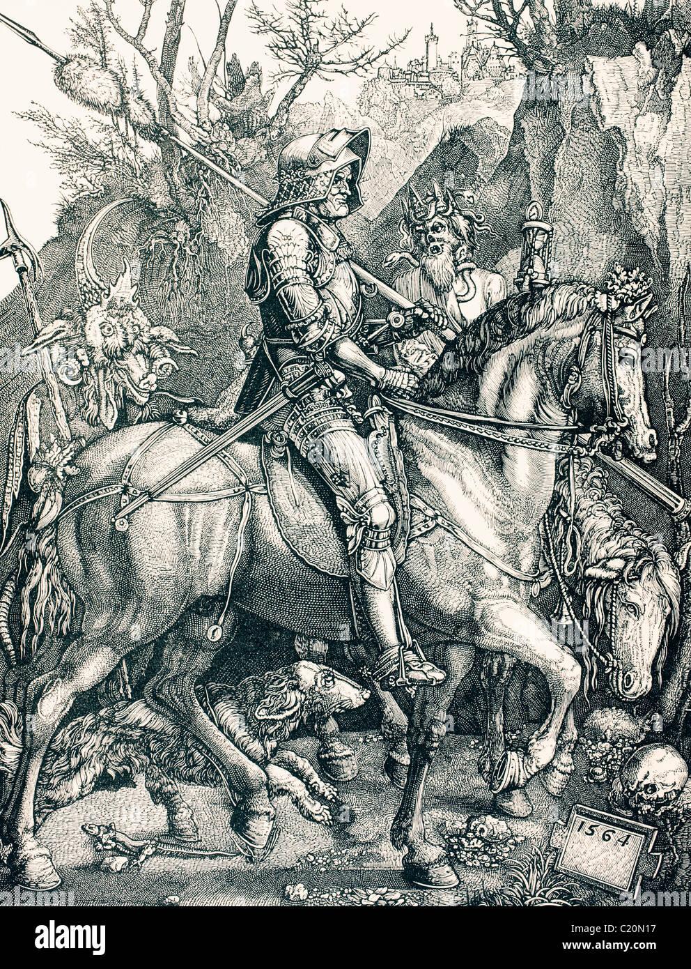 Der Ritter des Todes. Sünde und Tod begleiten ihn, personifiziert durch seine Diener und Squire. Stockbild