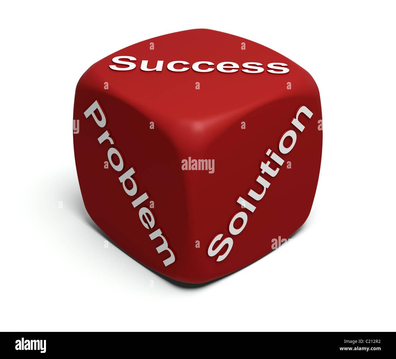 Red-Würfel mit Worten Problem, Lösung, Erfolg auf Flächen Stockbild