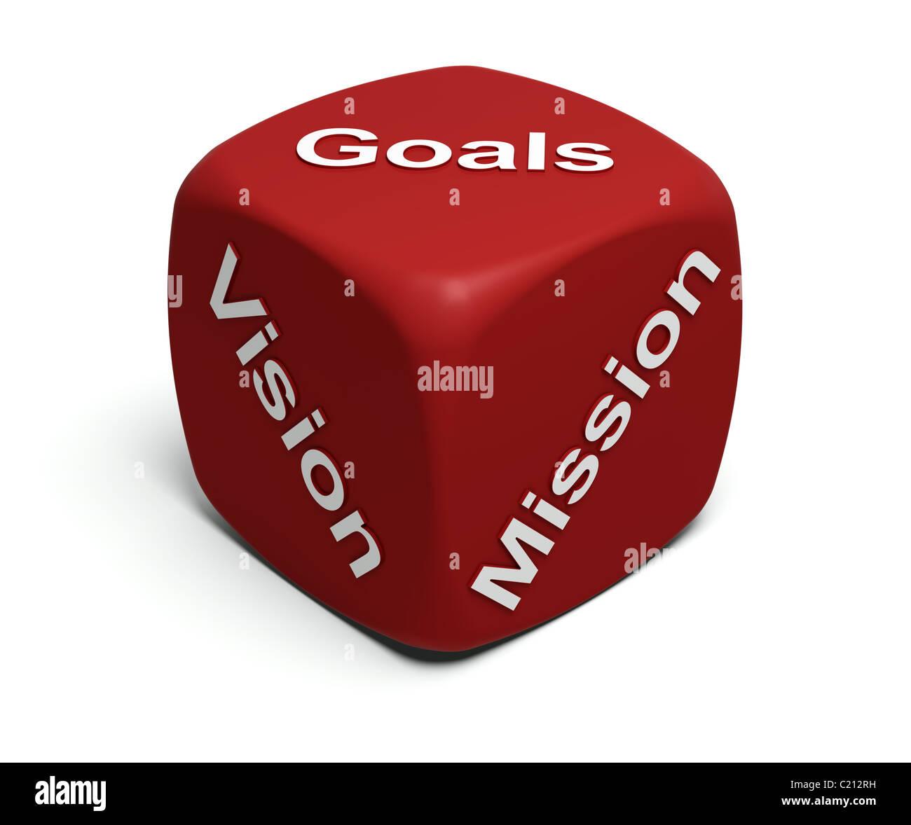 Red-Würfel mit Worten Vision, Mission, Ziele definieren jedes Unternehmens-Business-Strategie Stockbild