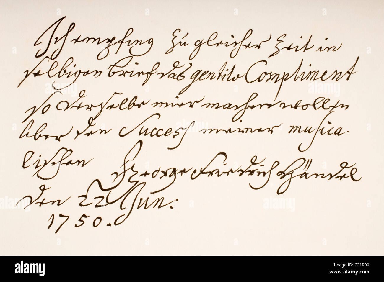 George Frideric Handel oder Georg Friedrich Händel, 1685-1759. Deutsch-britische Barock-Komponisten. Hand-Arbeitsprobe. Stockbild