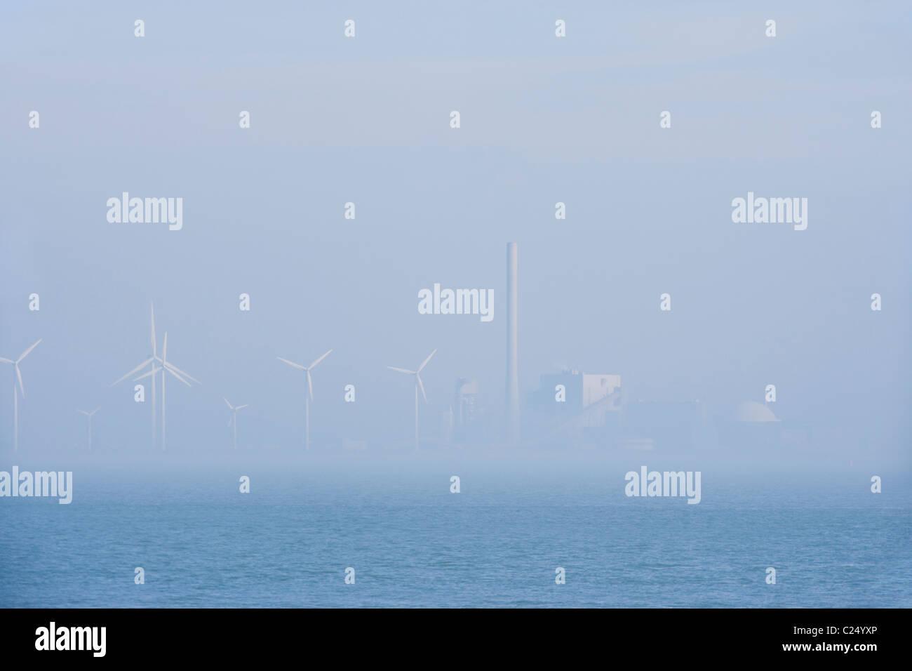 Kernkraftwerk Borssele, Pflanze, Ufer der Westerschelde, Westerschelde, RIA. Niederlande Holland Niederländisch. Stockbild