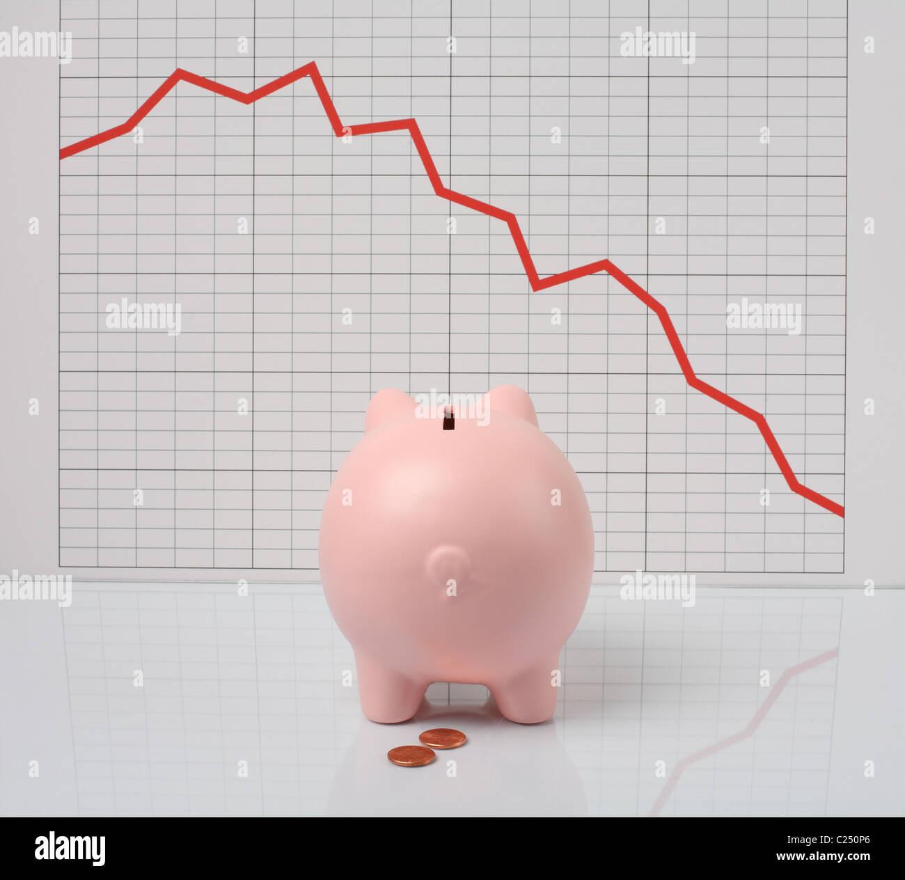 Sparschwein Verzweiflung über schlechte Finanzbericht Stockbild