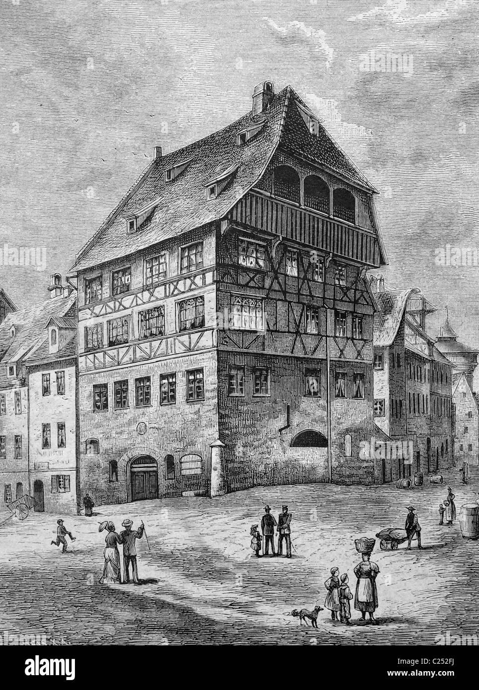 Albrecht-Dürer-Haus-Haus in Nürnberg, Deutschland, historische Abbildung, 1877 Stockbild