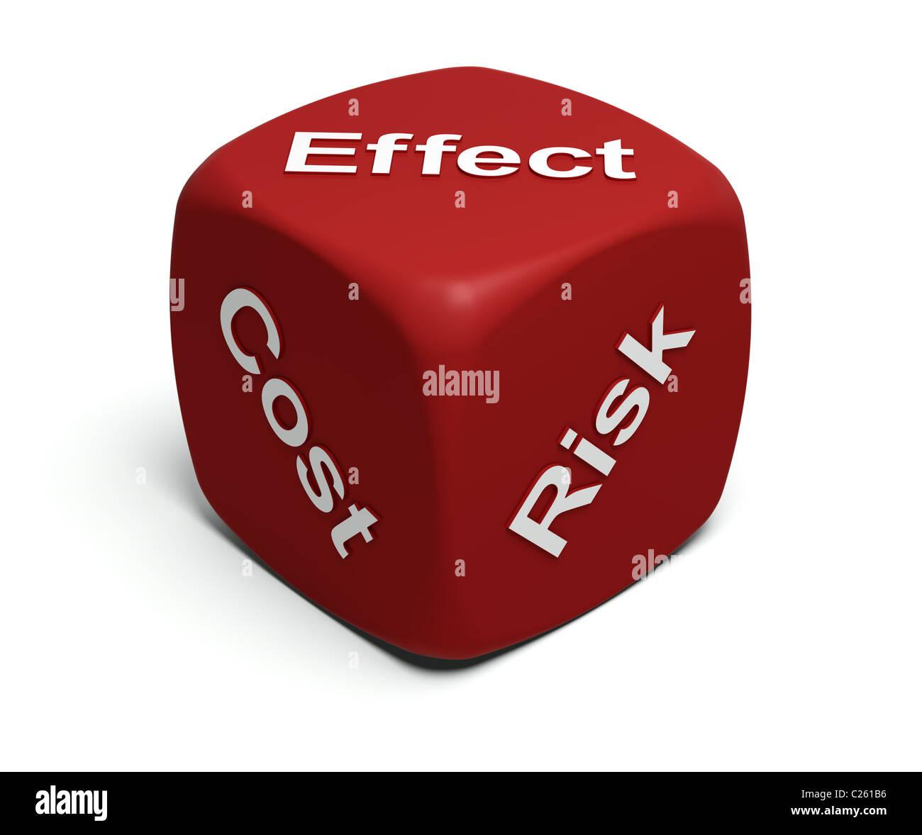 Red-Würfel mit Worten Risiko, Kosten, Wirkung auf Flächen Stockbild