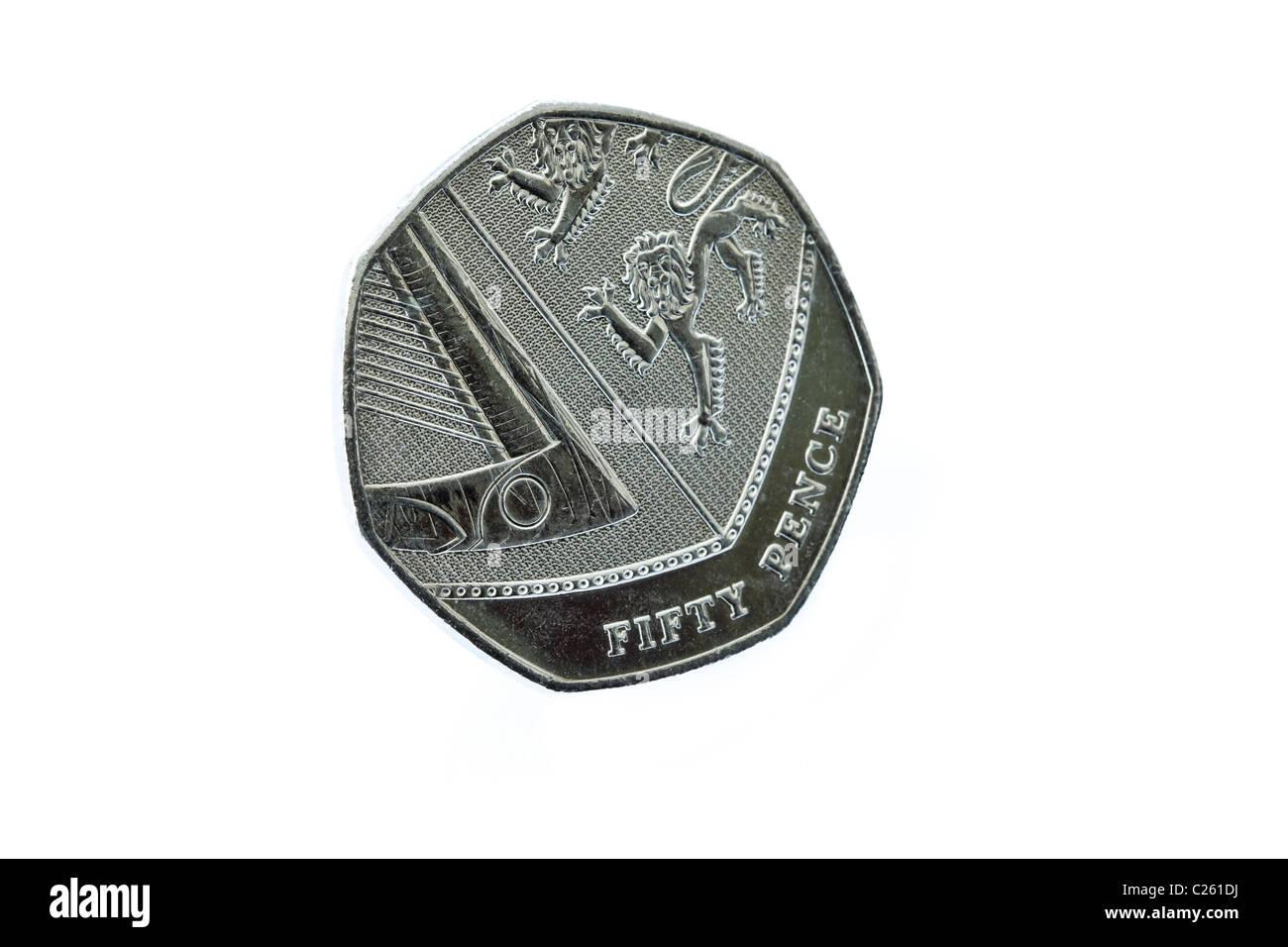Großbritannien, England, Europa. Unterseite des ein Heptagon fünfzig Pence Münze 50p Tails Seite Stockbild