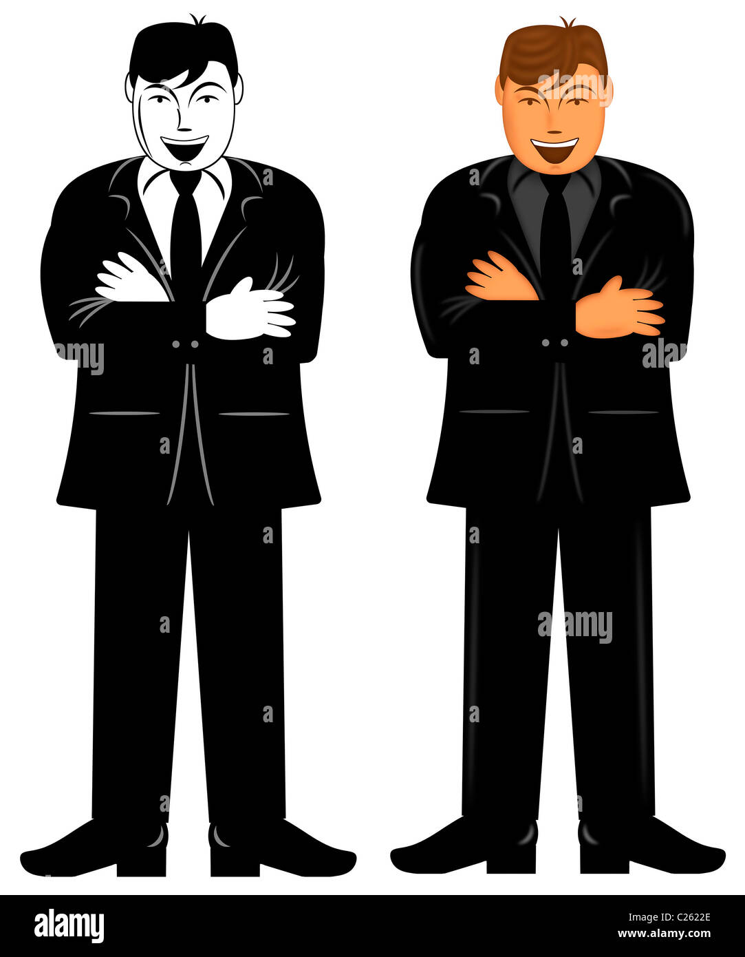 Business Executive männlich stehend mit Armen gefaltet Illustration Stockbild
