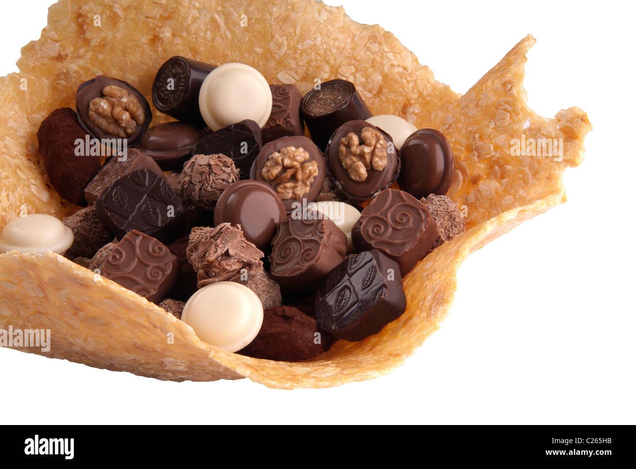 Schokoladenbonbons sortierten, Karamell Stockbild