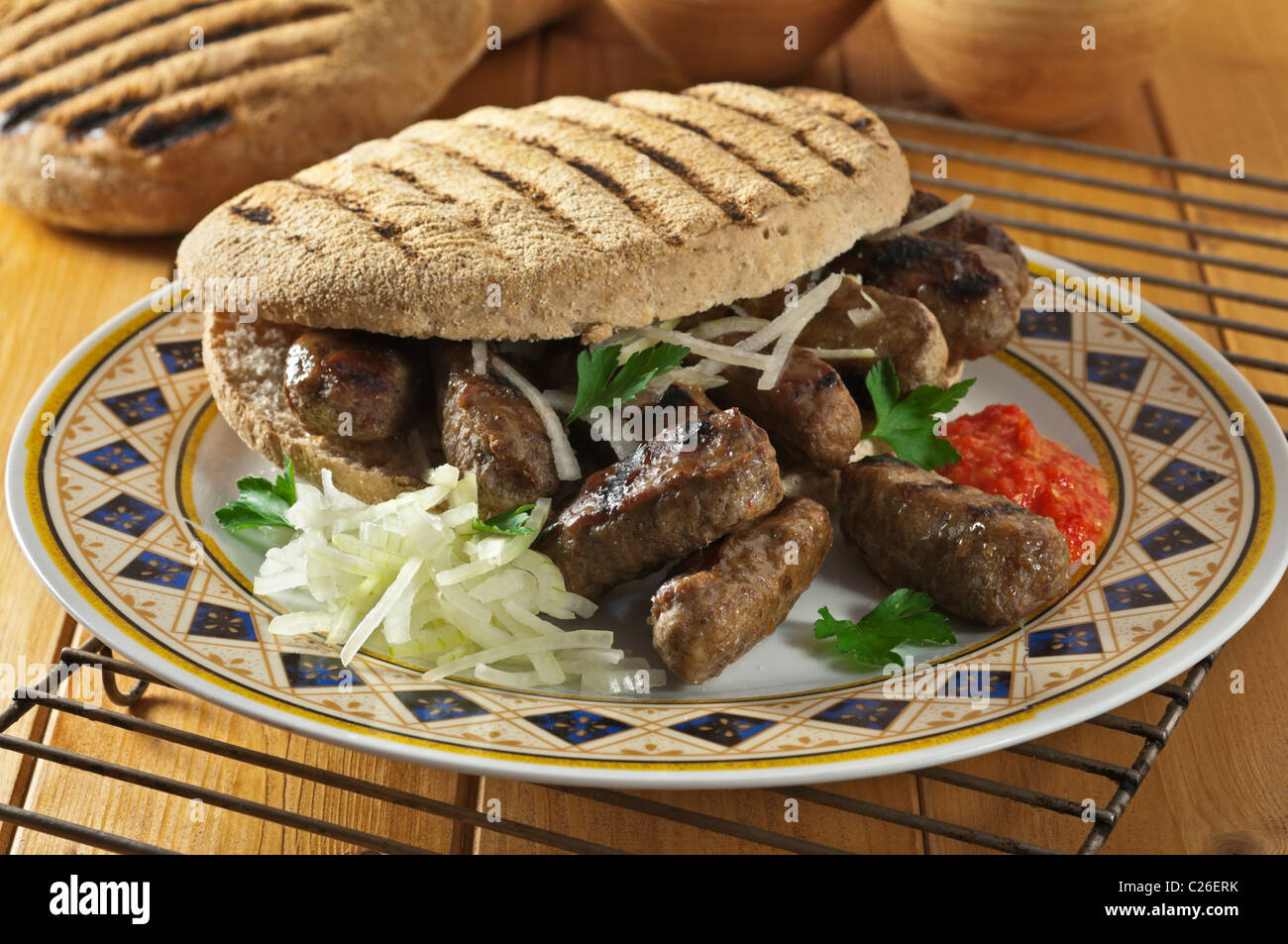 Cevapcici. Beliebte Speisen Balkan Stockbild