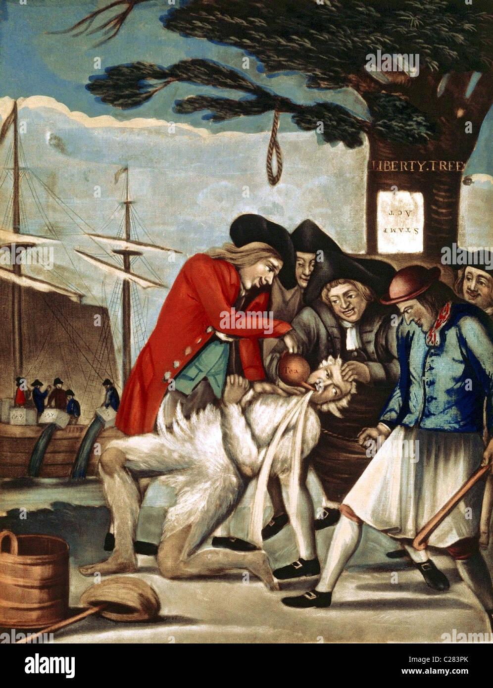 Man die Bostonians die Verbrauchsteuer zu zahlen. Die Sons of Liberty Teeren und Federn ein Zöllner unterhalb der Stockfoto
