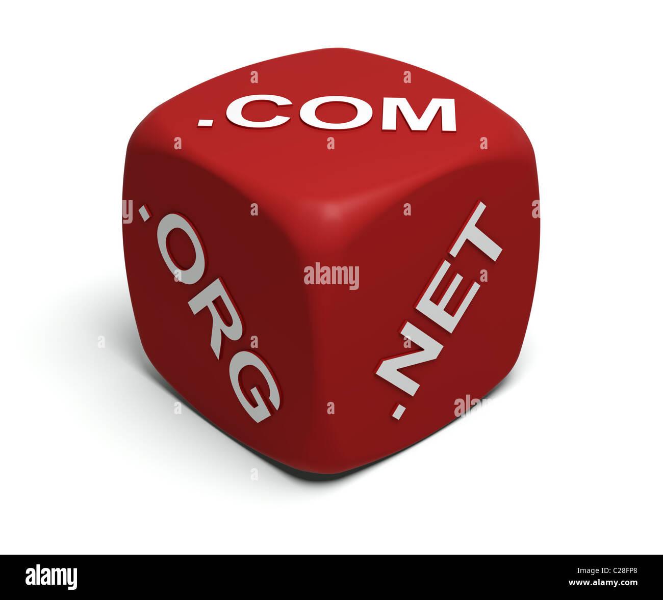 Red-Würfel mit Internet-Domain-Namen auf Flächen Stockbild