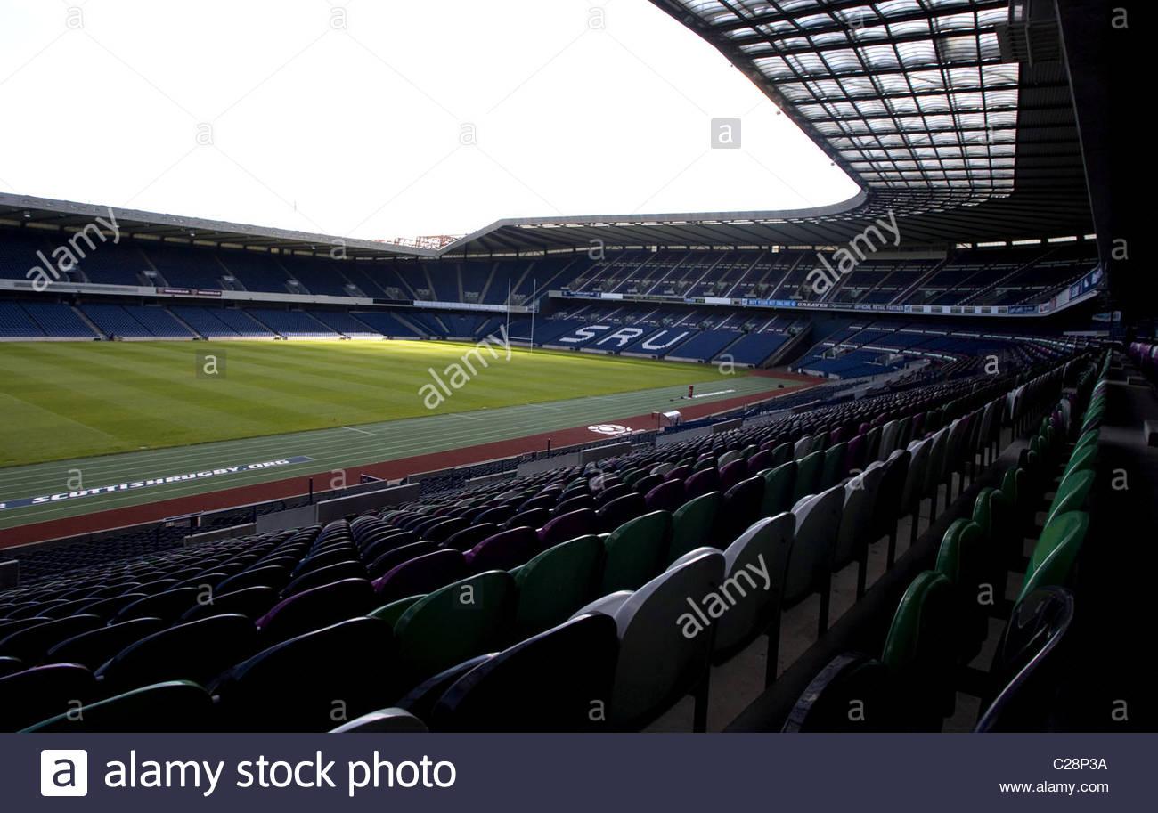 08.08.07 MURRAYFIELD - EDINBURGH GV des Murrayfield Stadion, Heimat des Schottland-Rugby-Nationalmannschaft. Stockbild