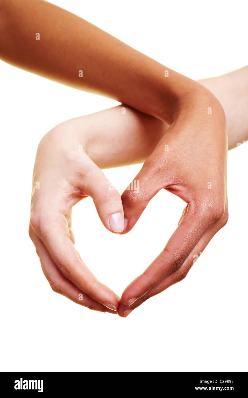 Hände bilden ein Herz Stockbild