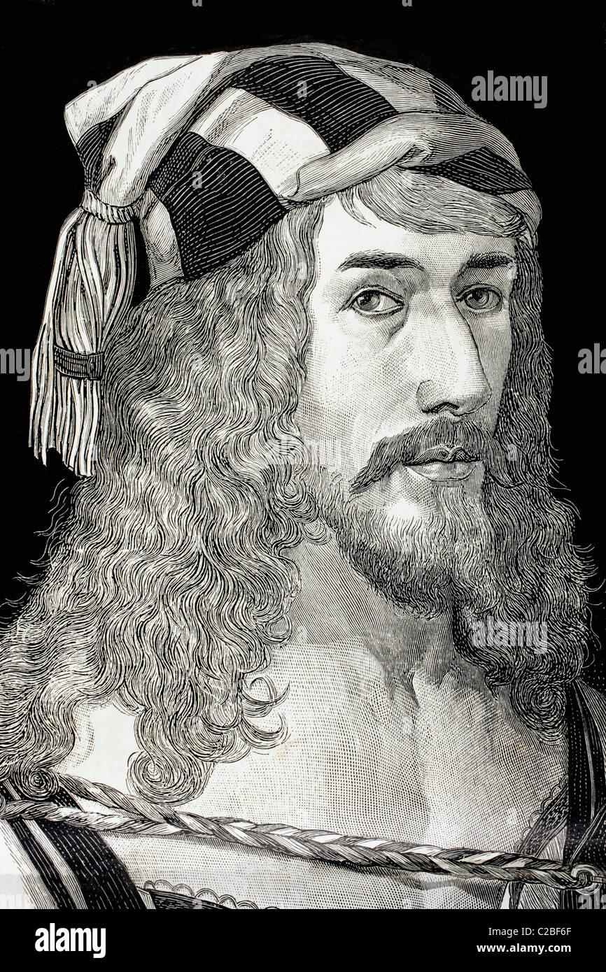 Albrecht Dürer, 1471-1528. Deutscher Maler, Grafiker und Theoretiker. Nach seinem Selbstporträt. Stockbild
