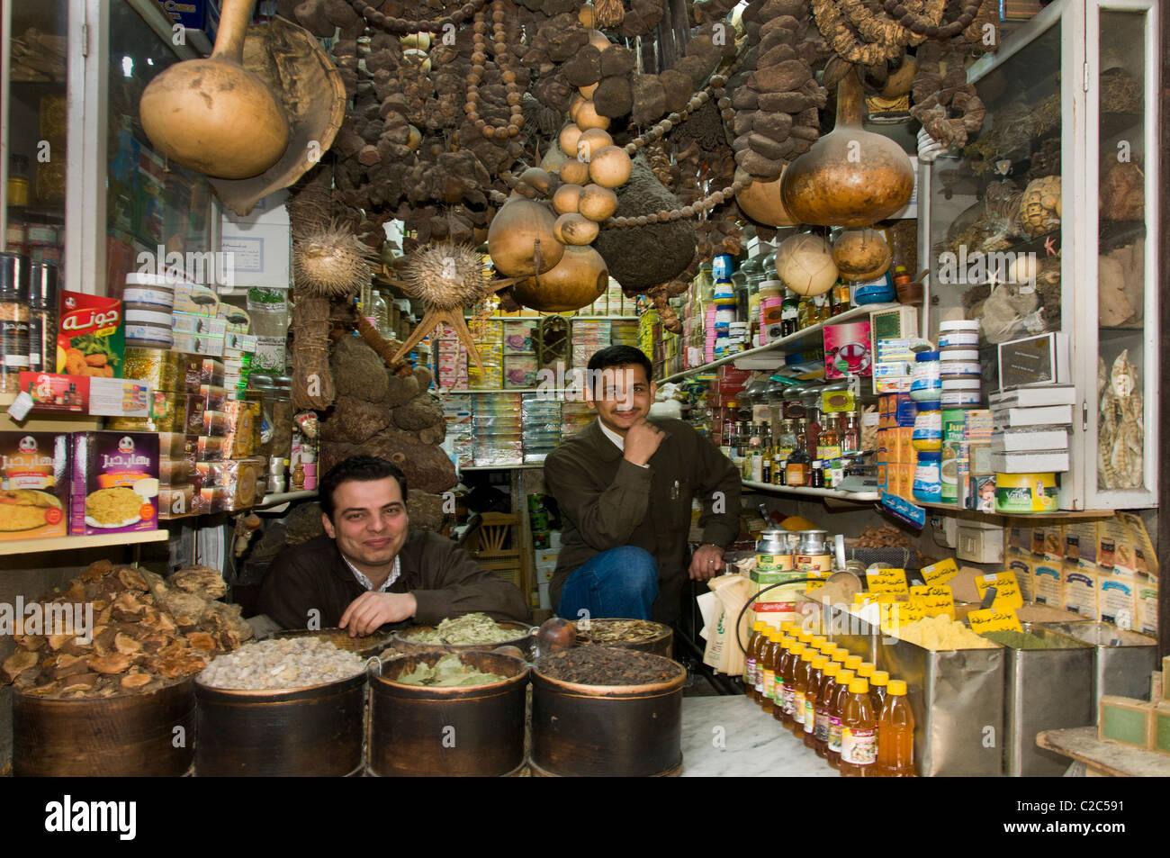 Damaskus Syrien Lebensmittelhändler Lebensmittelgeschäft Basar Souk Markt Stockbild