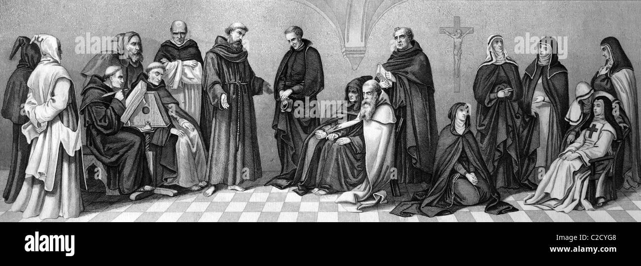 Kulturgeschichte der religiösen Orden, von links: Kartäuser, Benediktiner, Kapuziner, Zwei Dominikaner, Stockbild