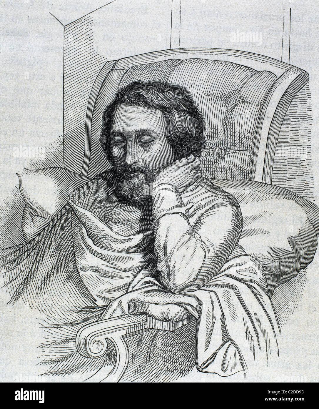 HEINE, Heinrich (Düsseldorf, 1797-Paris, 1856). Deutscher Schriftsteller. Kupferstich von Weger und Sängerin, Stockbild