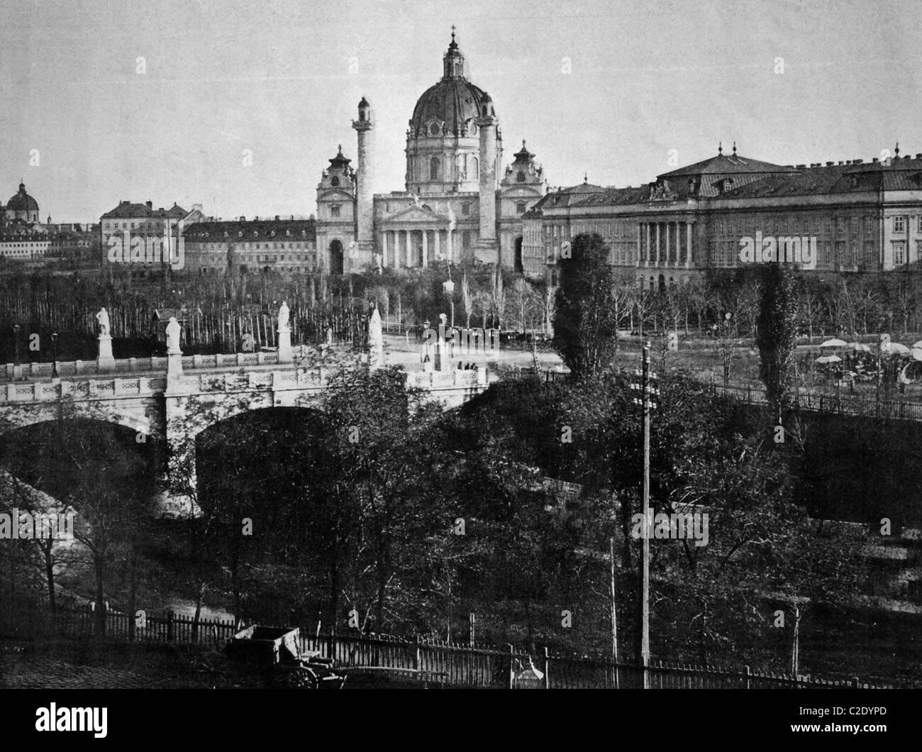 Eines der ersten Autotypen Elisabethplatz-Platz, Wien, Österreich, historische Fotos, 1884 Stockbild