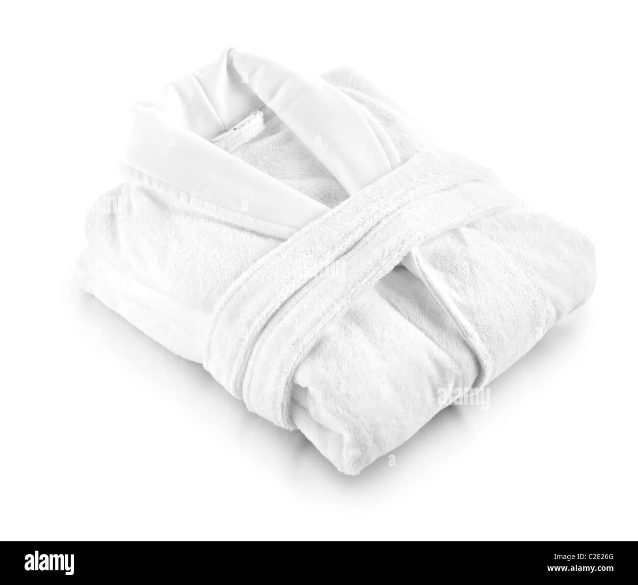 weiße Frottee-Bademantel Morgenmantel Stockbild