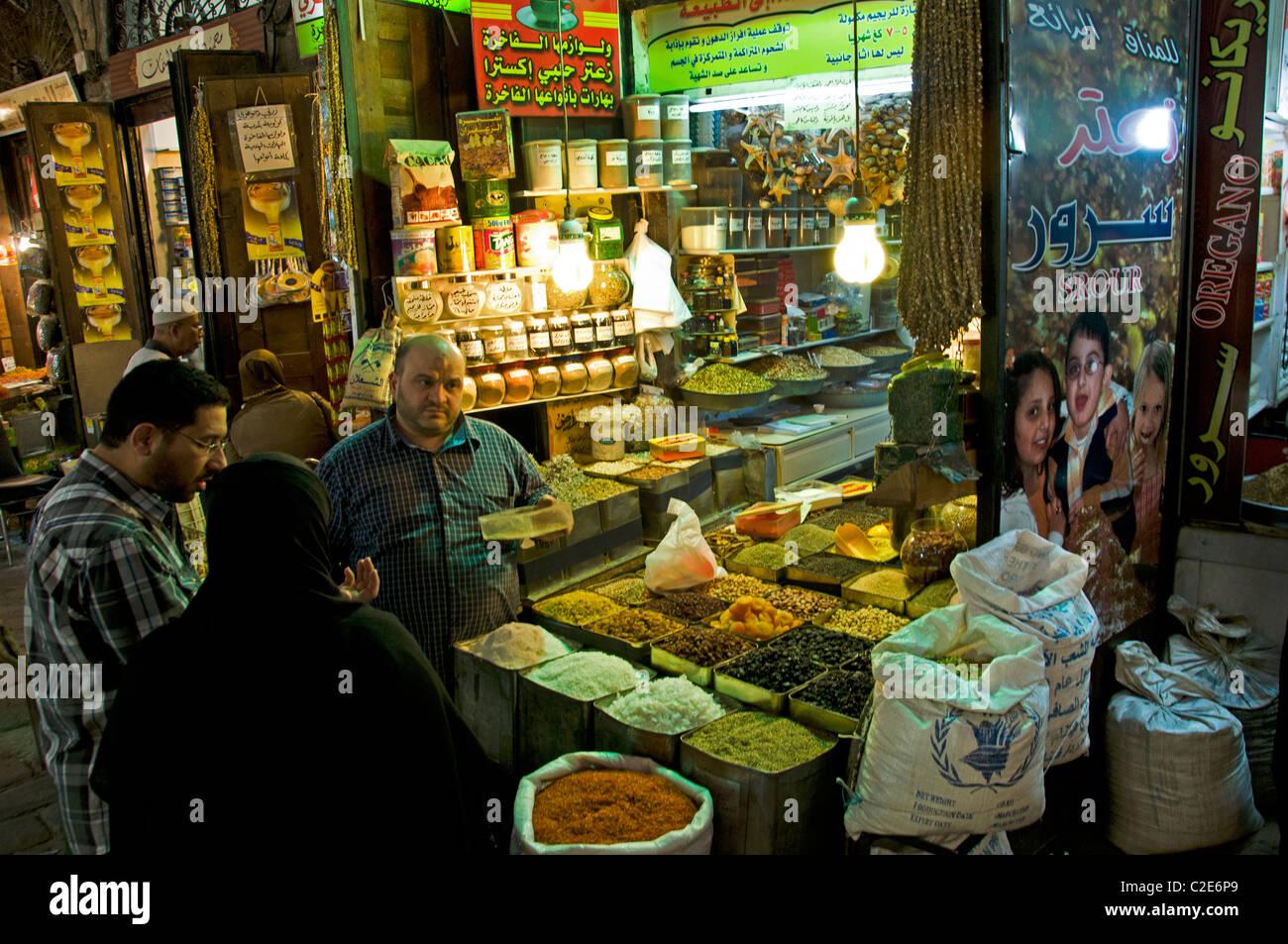 Damaskus-Syrien-Basar-Souk Markt Lebensmittelhändler Lebensmittelgeschäft Stockbild