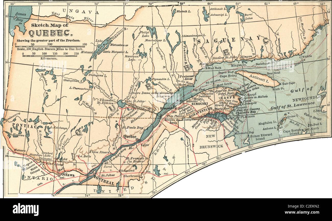 Quebec Karte.Karte Von Quebec Stockfoto Bild 35972862 Alamy