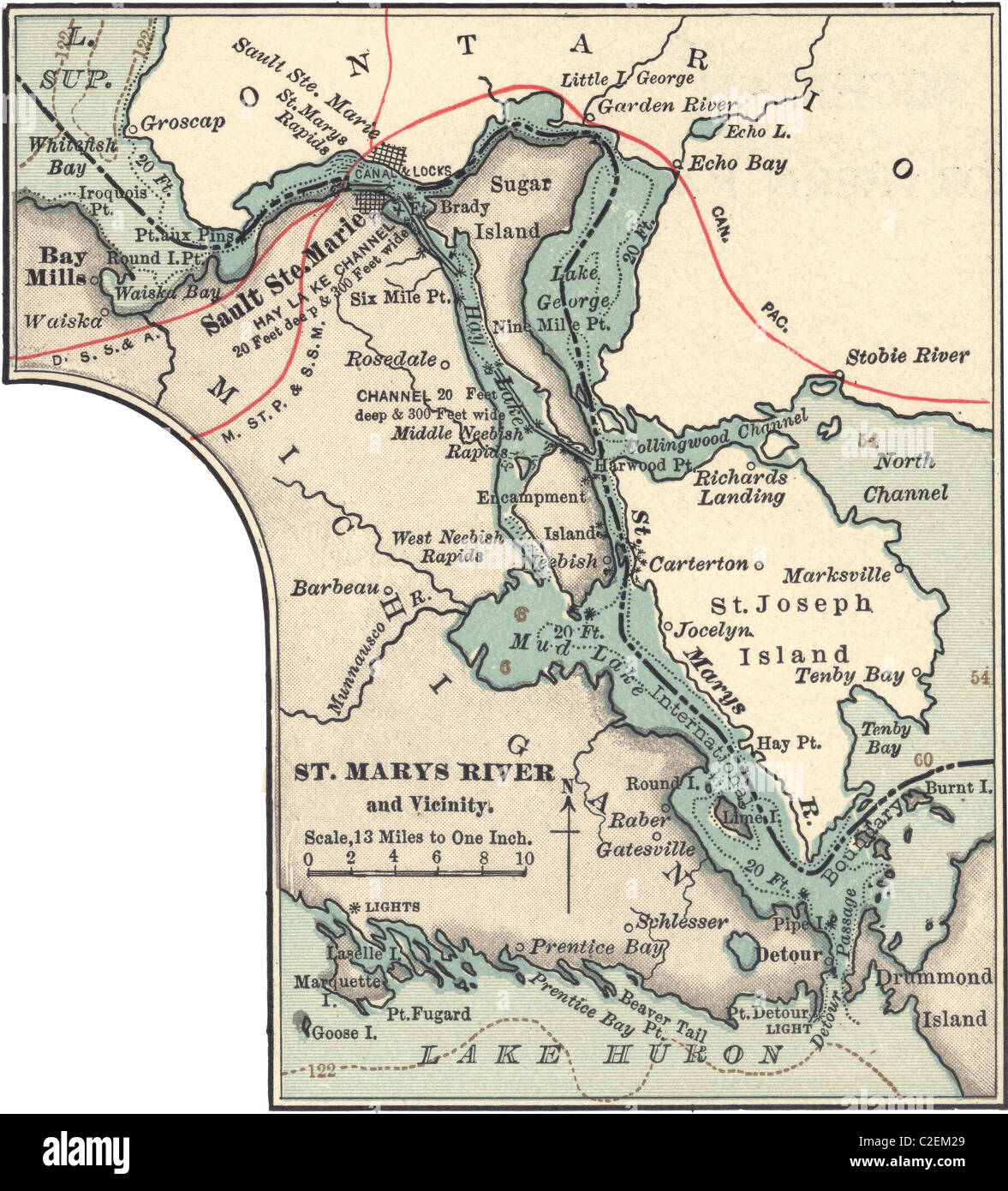 Map Of St Marys River And Sault Ste Marie Stockfotos & Map Of St ...