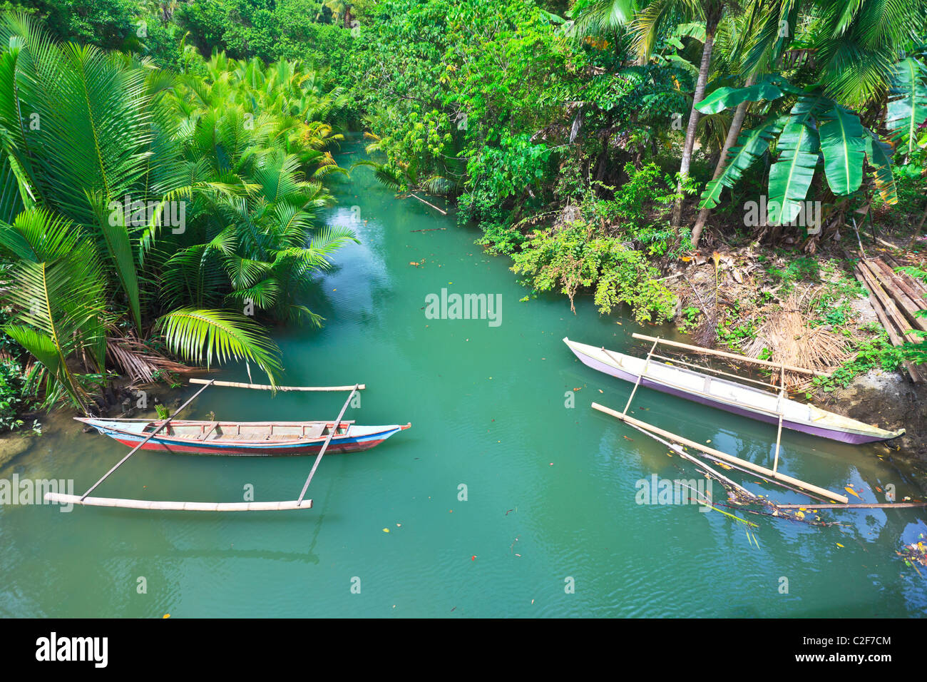Traditionelle philippinische Boot. Schönen Fluss. Philippinen Stockbild