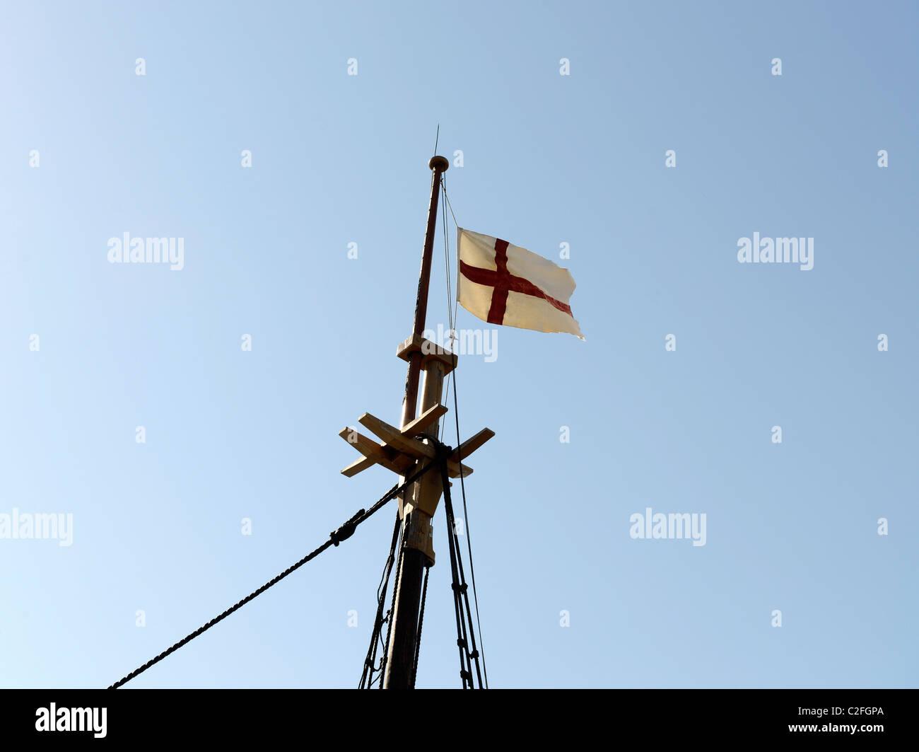 Takelage auf Mayflower II, Nachbau des Originals, die Pilger nach Amerika gebracht. Stockbild