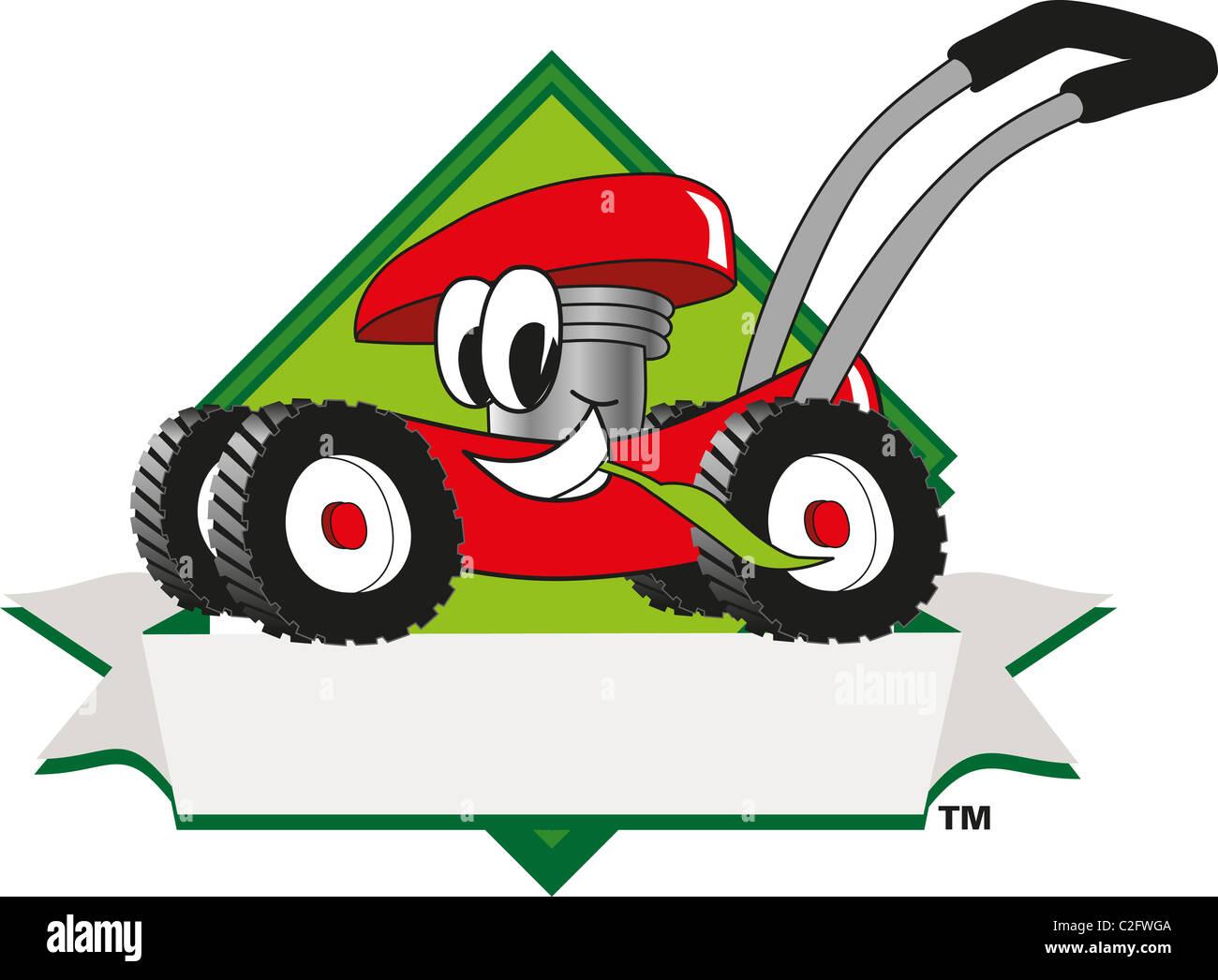 Cartoon-Rasenmäher-ClipArt-Grafiken und Logo-Vorlage Stockfoto, Bild ...