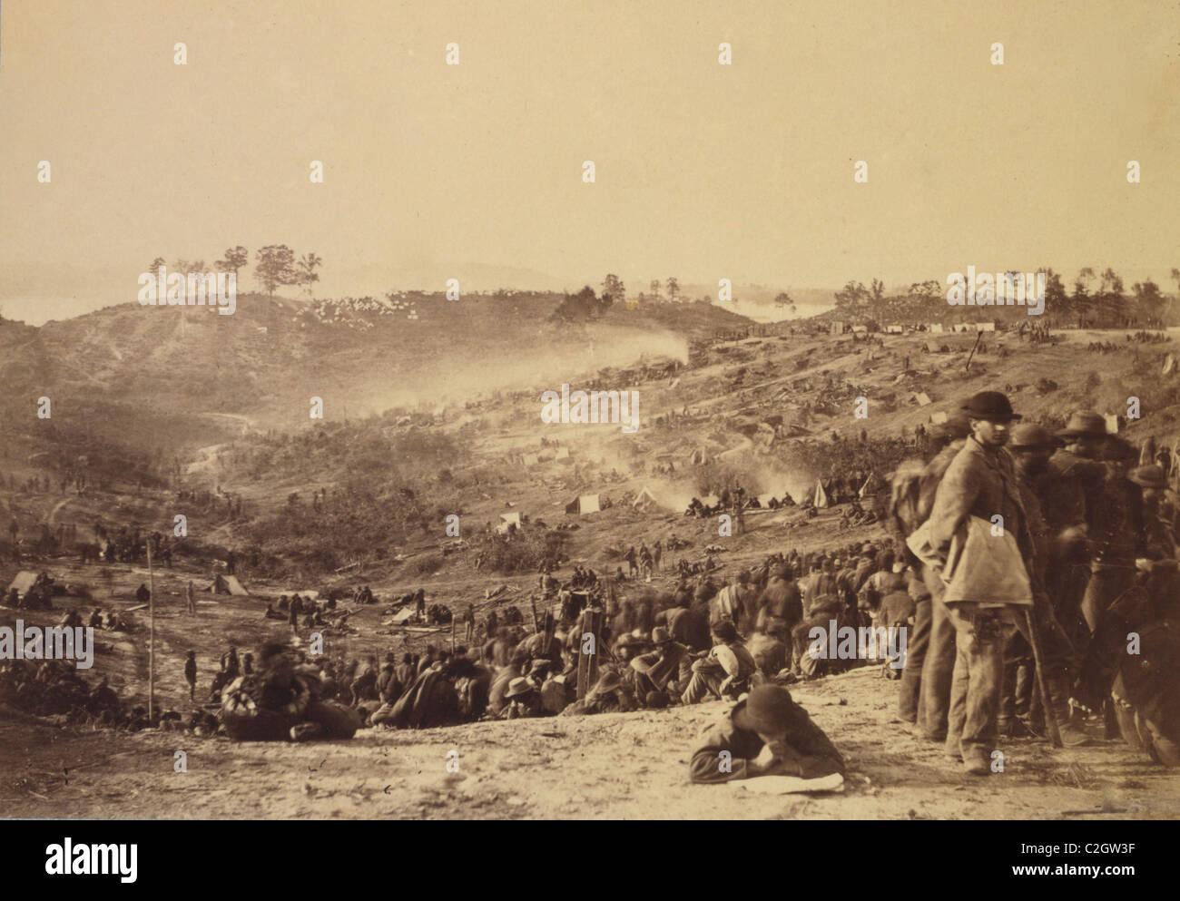 Konföderierten Gefangenen Belle Plain Landing, VA., erfasst mit Johnsons Division, 12. Mai 1864 Stockbild