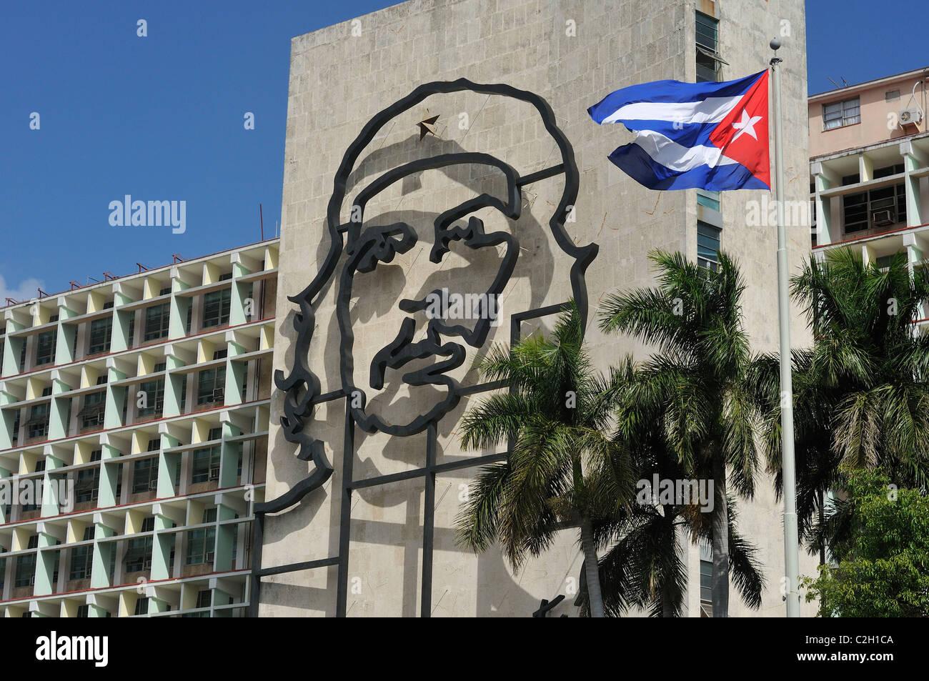 Havanna. Kuba. Bild von Che Guevara auf das Ministerium Gebäude des Innenministeriums, Plaza De La Revolucion. Stockbild