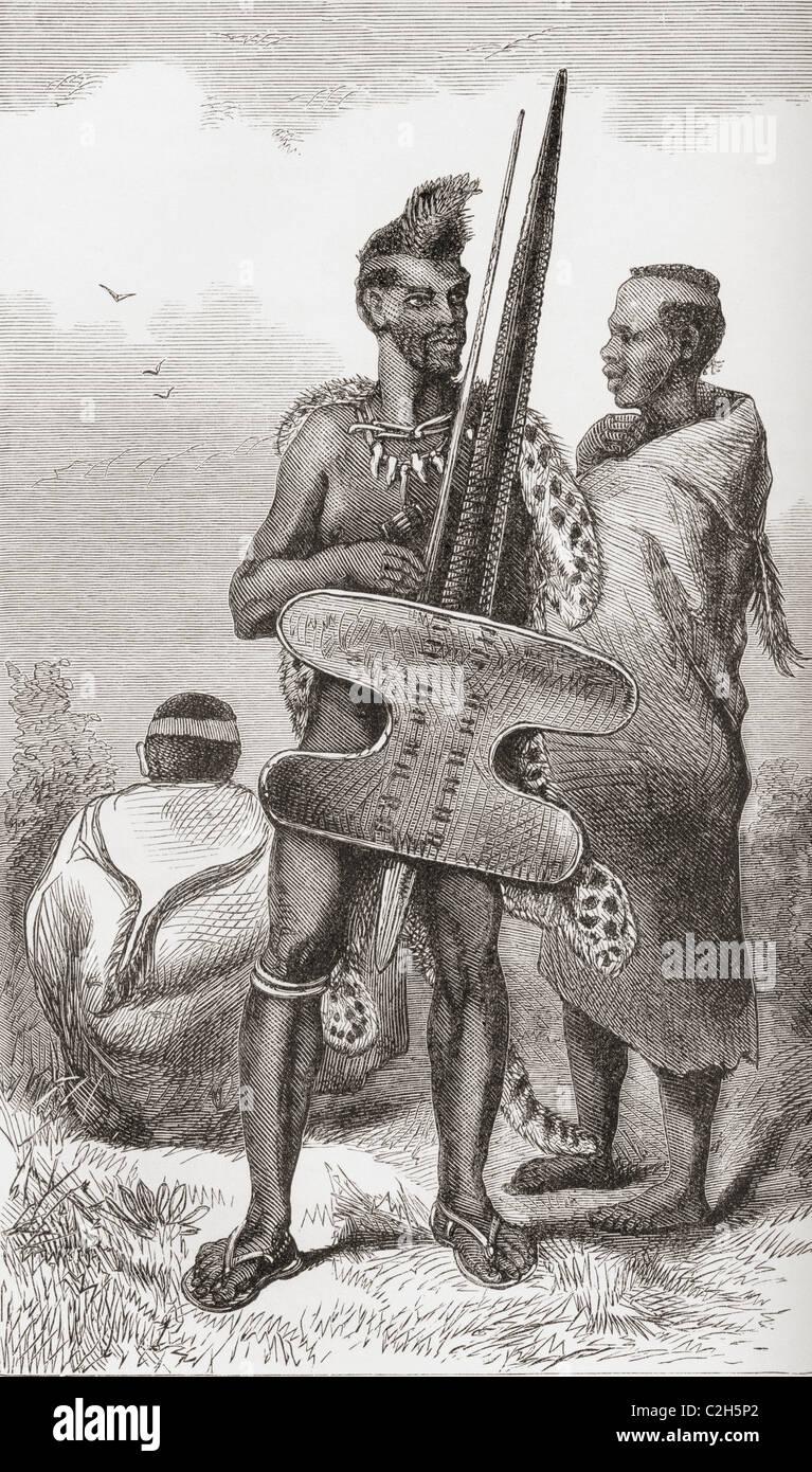 Ein Bechuana Krieger im 19. Jahrhundert. Stockbild
