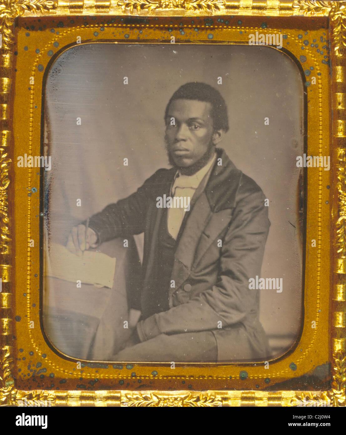 James Skivring Smith, Dreiviertel Länge Portrait, dreiviertel-Ansicht, am Schreibtisch sitzen Stockbild