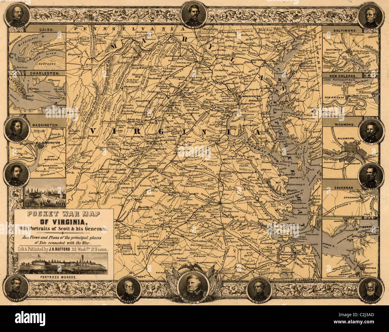 Tasche Krieg Karte von Virginia, mit Porträts von Scott & seiner Generäle. Stockbild