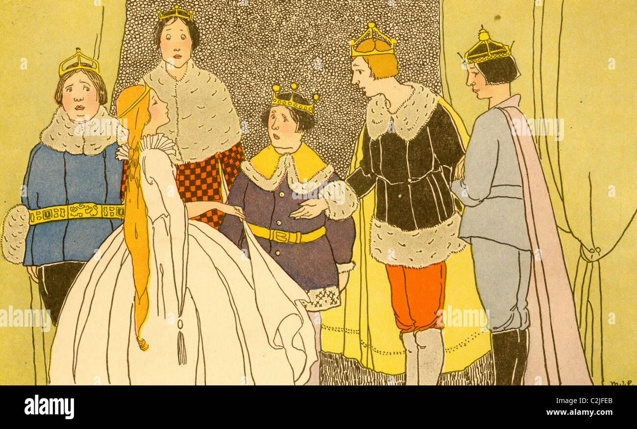 Königliche Familie grüßt eine junge Prinzessin Stockbild