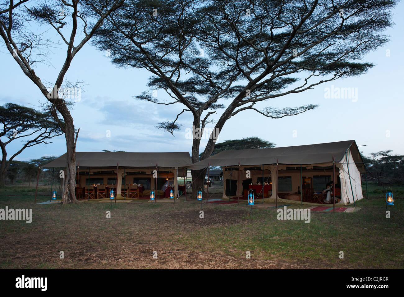 Hauptzelt unter Baum der Serengeti Safari eher Camp in der Wildnis der Serengeti, Tansania, Afrika Stockbild