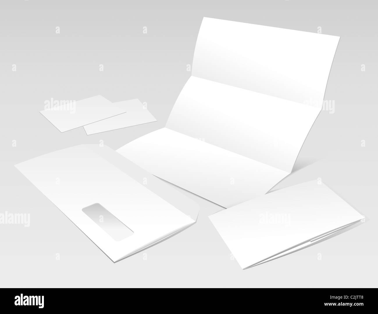 Blank Brief, Briefumschlag, Visitenkarten und Broschüre Stockfoto ...