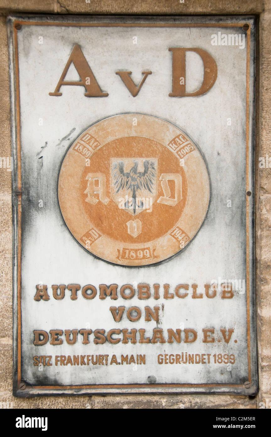 Automobilclub von Deutschland alten Plakatwand Zeichen Automobil Club Deutschland Zeichen alten Plakatwand Stockbild