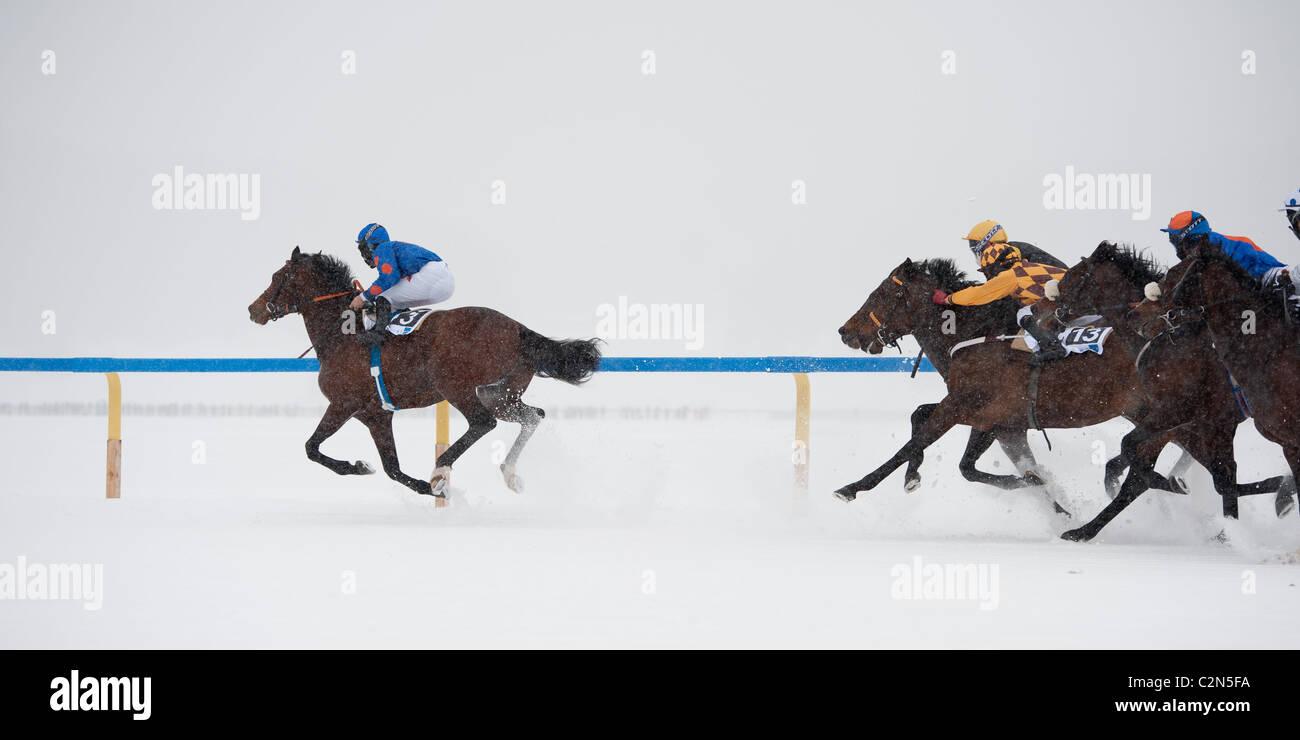 """Pferderennen auf dem zugefrorenen See """"White Turf 2011"""" in St. Moritz, Schweiz Stockbild"""