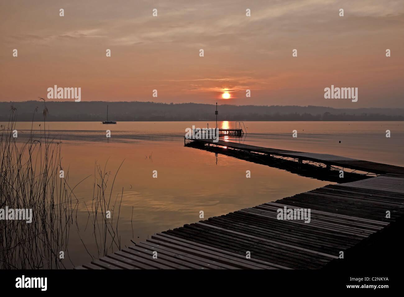 Sonnenuntergang am Lago Maggiore Stockbild
