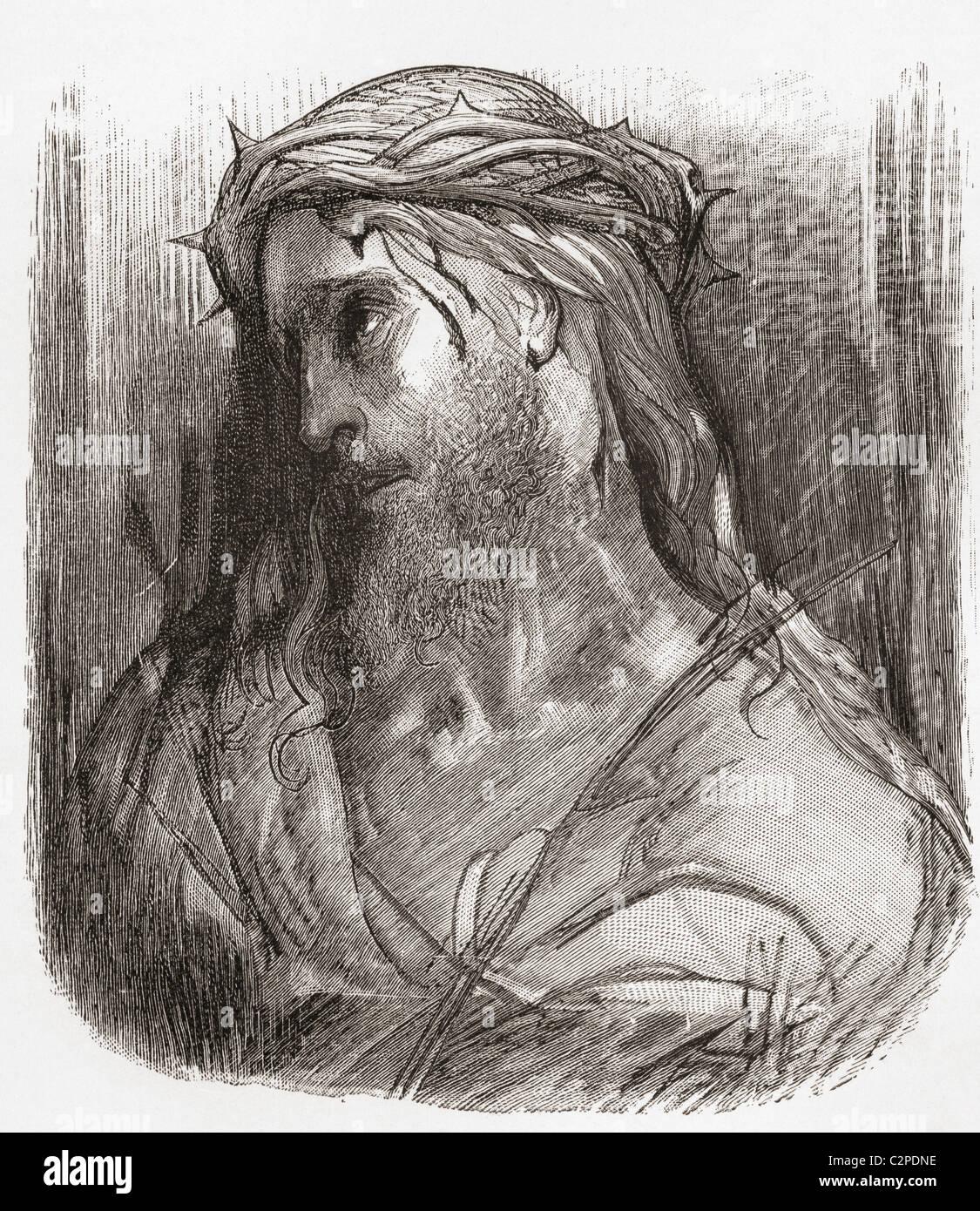 Kopf des Christus, nach der ursprünglichen Zeichnung von Gustave Dore. Stockbild