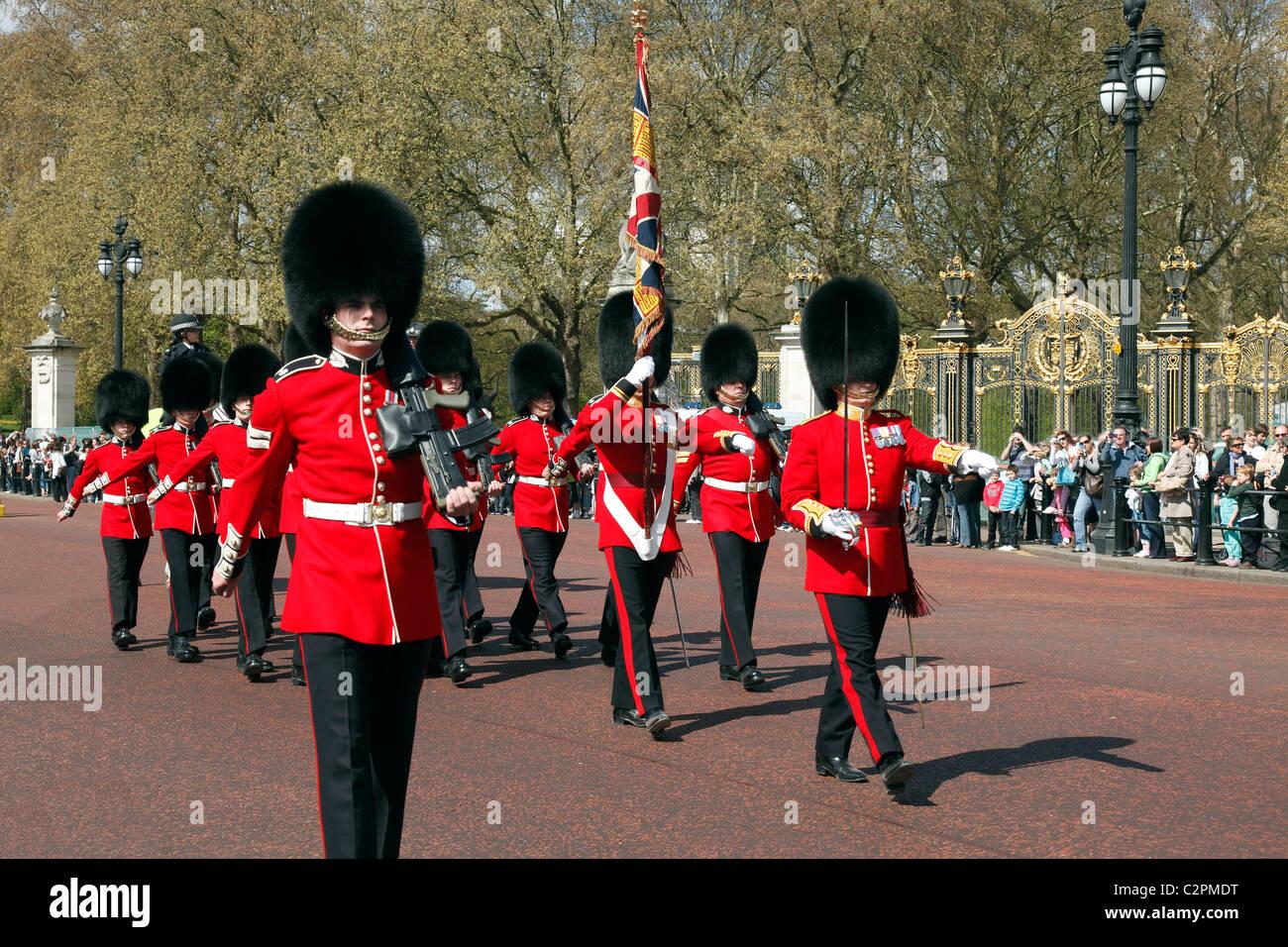Grenadier Guards im Buckingham Palace Stockbild