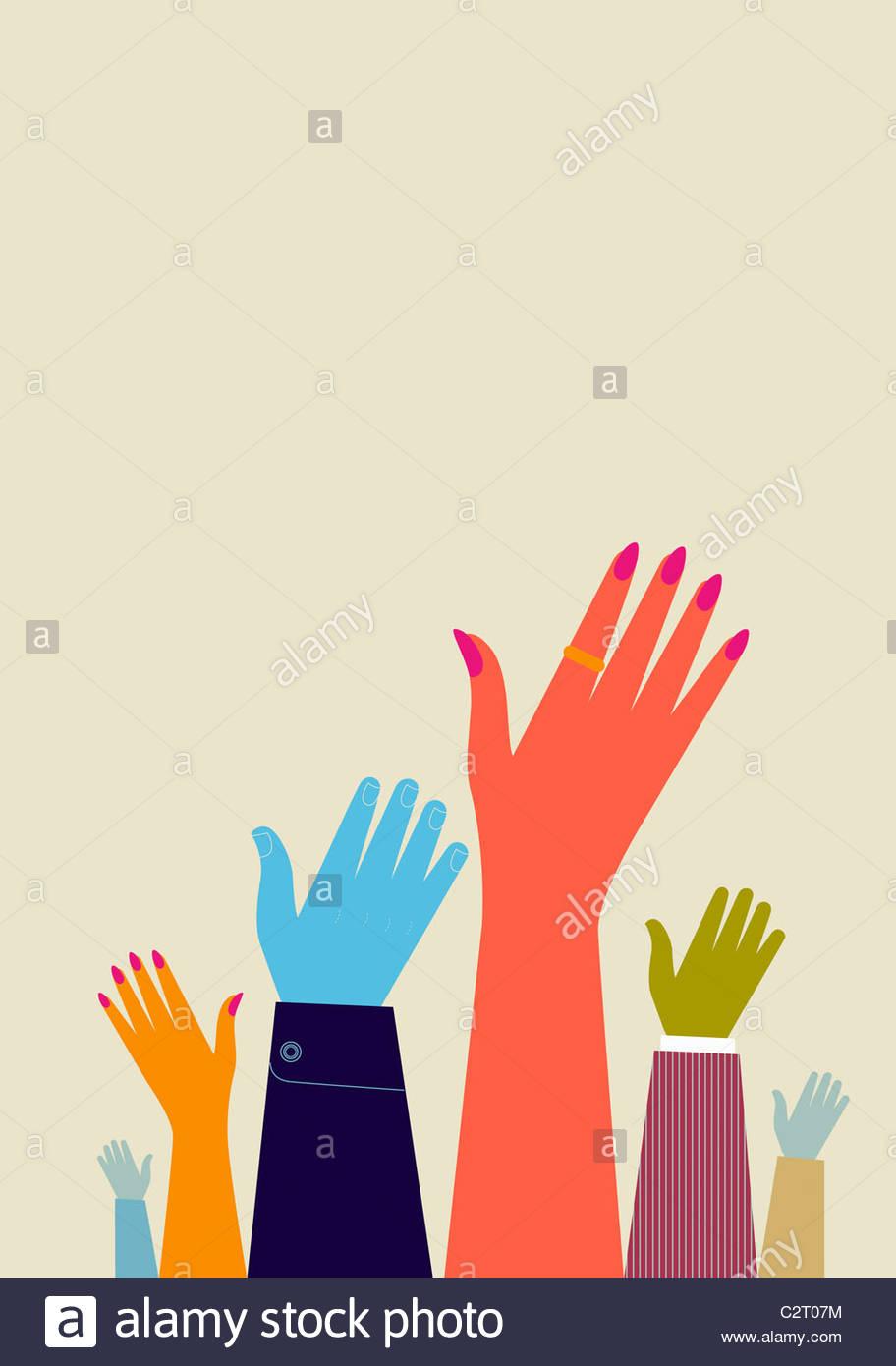 Menschen, die ihre Hände erhebend Stockbild