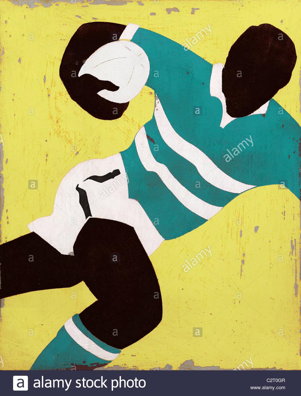Rugby-Spieler mit ball Stockfoto