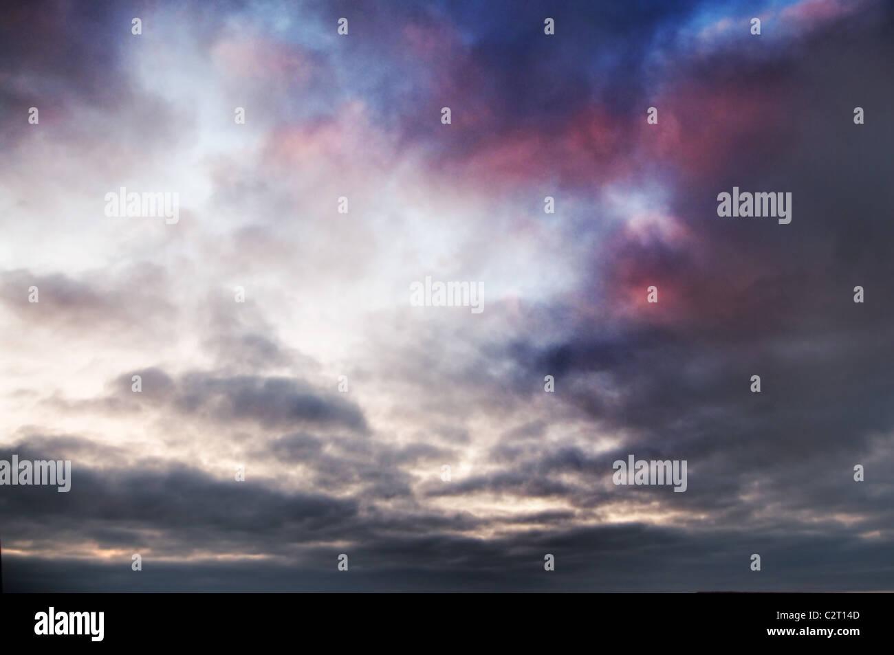 Roten und violetten Himmel Stockbild