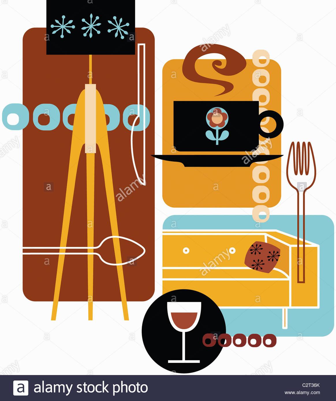 Retro-Montage der Gabel, Sofa, Lampe, Kaffee und Wein Glas Stockbild