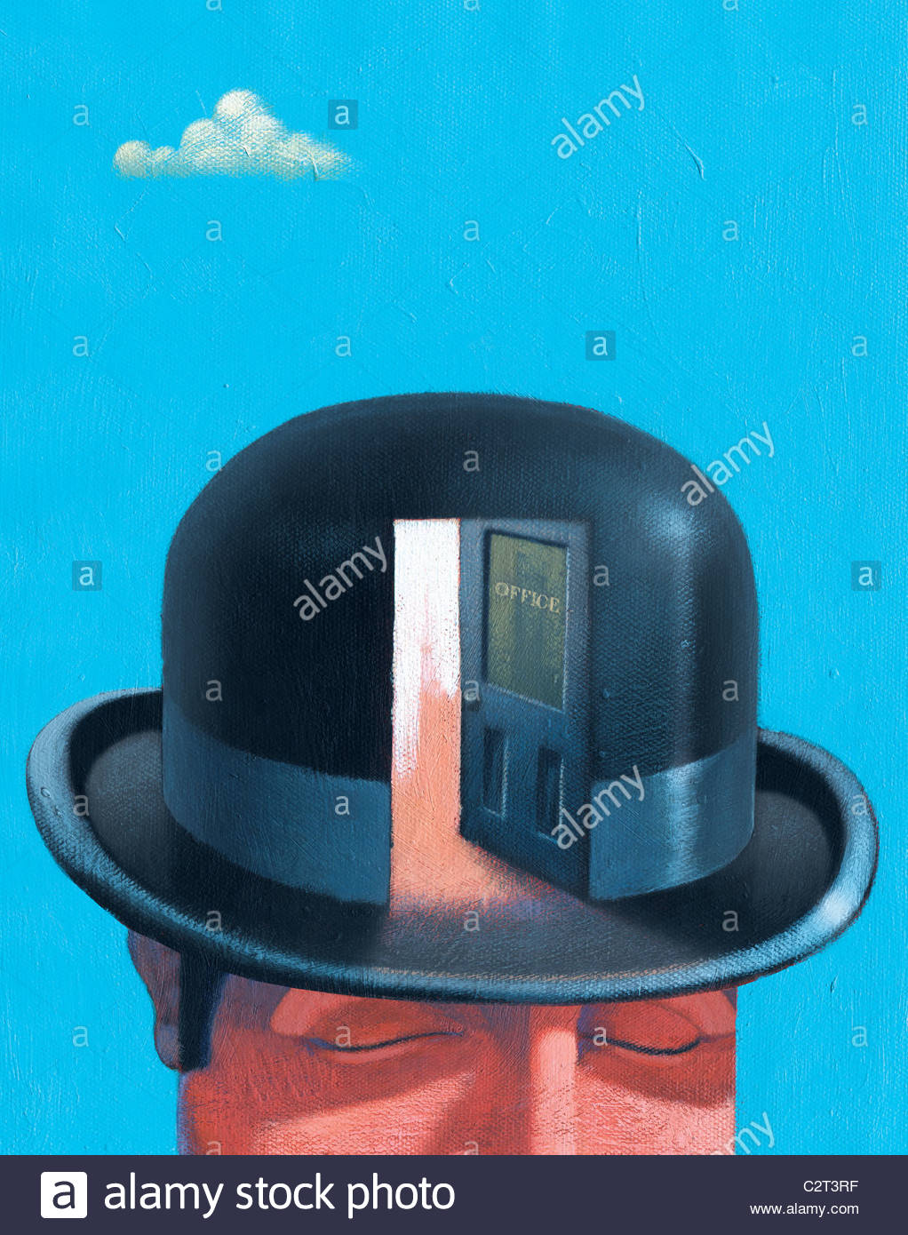 Geschäftsmann in Melone mit offener Tür Stockbild