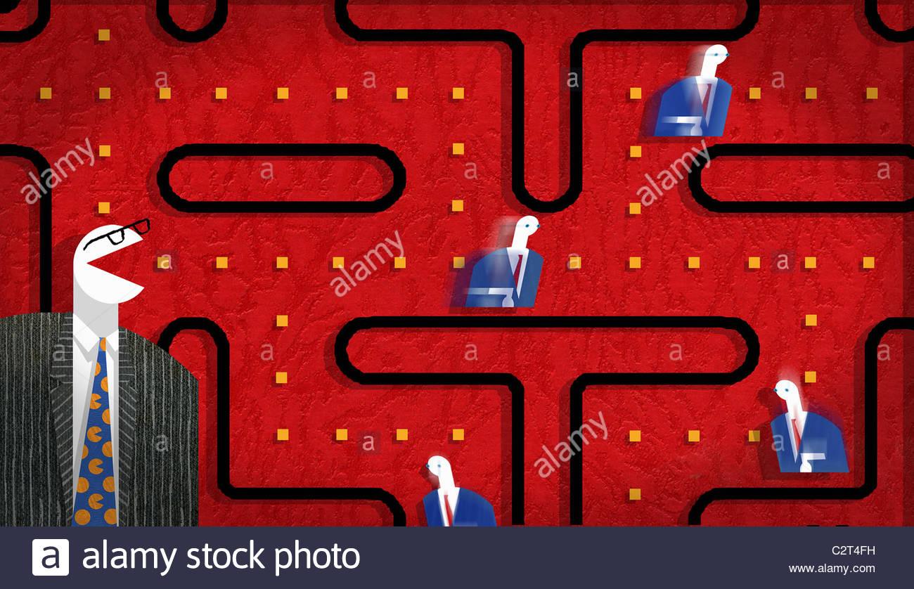 Geschäftsleute in Pac-Man Spiel Diagramm Stockbild