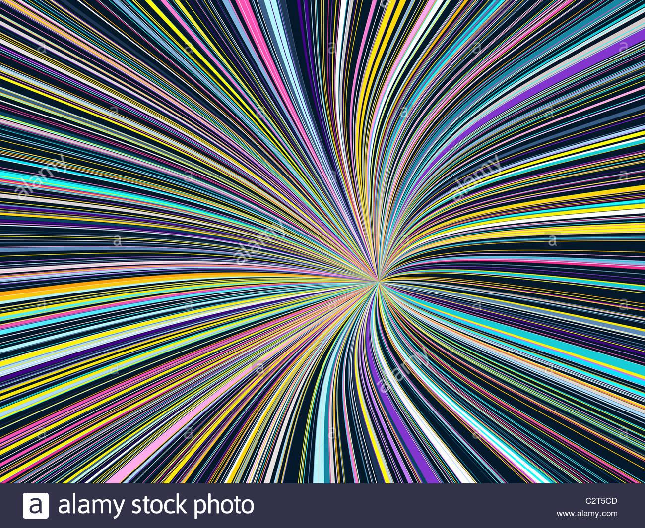 Abstrakte Linienform mit Regenbogenfarben Stockbild