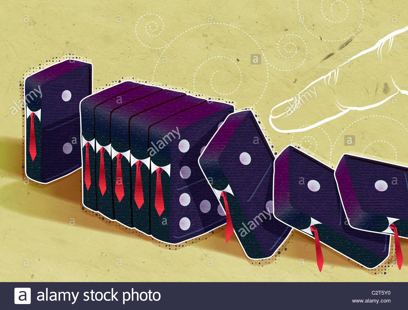 Finger, umstoßen Geschäftsmann-förmigen Dominosteine Stockbild