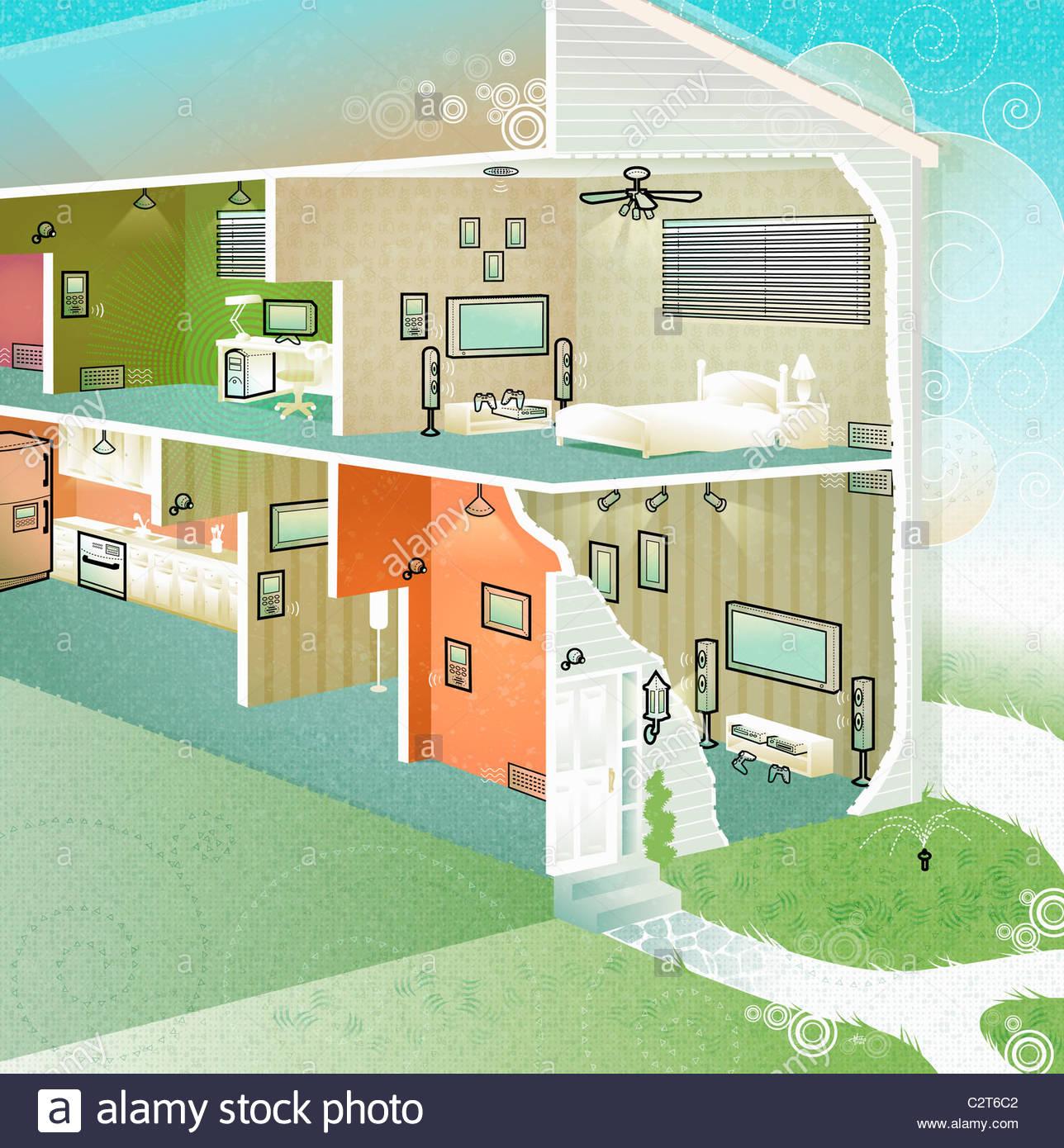 Querschnitt von electro house Stockbild